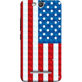 FUSON Designer Back Case Cover for Micromax Canvas Juice 3 Q392 (United Stated Of America Flag Embroidered Stars)