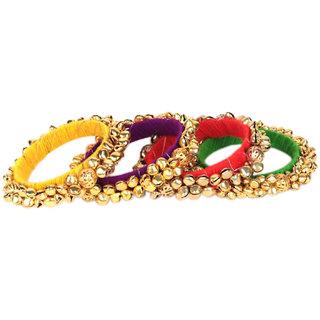 Loops N Knots  Multi-Colour Fashion Jewellery Ghungroo Bangle Set For Girls Women-Traditional Wear Bangle Set Of 4