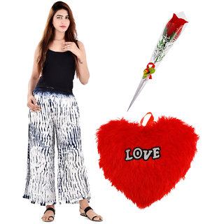 Valentine Gift Combo 1 Heart Cushion, 1 Artificial Red Rose & 1 Palazzo