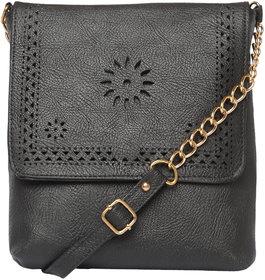 Black Trendy Fashionable Sling / Cross Body Bag Shoulder Bag For Girls Women
