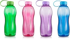JIPET Plain Water Bottle 600ml - Assorted Colors as per availability- Pack of 2