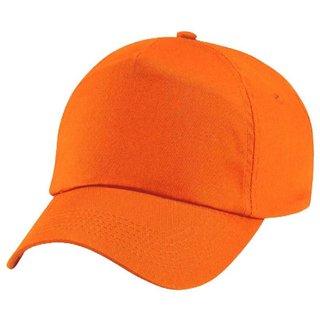 Tahiro Orange Plain Cotton Cap - Pack Of 1