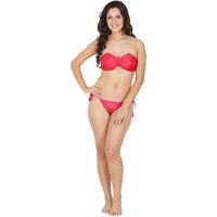 Klamotten Black and Red Solid Bikini Set (2 Color Options)