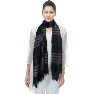 Anekaant Black White Checkered Viscose Fringed Stole (50x200 cm)