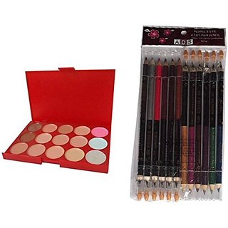 Combo of ADS Concealer and Perfect Eye And Lip Liner Pencil in different shades
