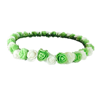 Loops N Knots Princess Flora Collection Green  White Tiara /Crown For Girls  Women -Hair Accessories For Birtyday ,Party  Wedding