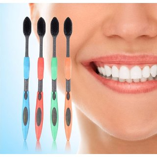 4PCS Double Ultra Soft Toothbrush Bamboo Charcoal Nano Brush Oral Care (Random Color)