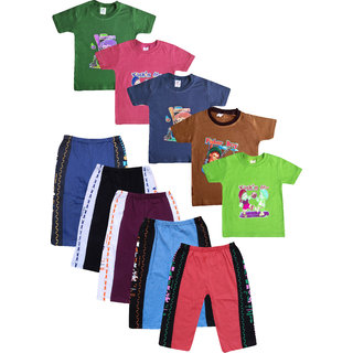 Jisha Boys Round Neck Tshirt and Track Pant assorted color HMNSDBL ( Pack of5) 3Months to 4 Years