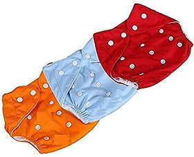 New Adjustable Reusable Lot Baby Washable Cloth Diaper Nappies - (Multi-Color) (Pack Of 3)