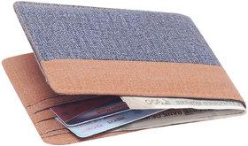 Blue & Brown Denim Bi-fold Wallet for Mens