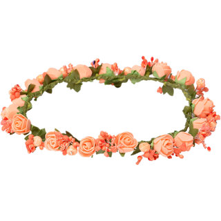 Loops N Knots Princess Flora Collection Orange Tiara /Crown/Headband For Girls Women Hair Accessories For Birthday Party Wedding-Gift For Girls