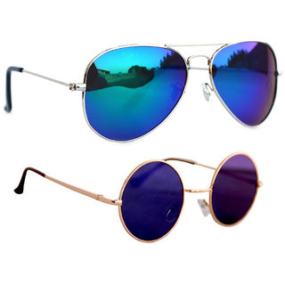 06de3a101ab Combo Of Sunglasses With Blue Mirror Aviator And Vintage Gandhi Style In Multi  Shade