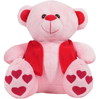 Ultra Pink Teddy Bear with Red Jacket - 12 Inches