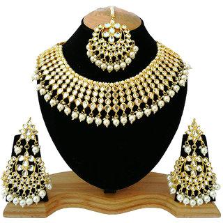 fdbcbc11347 Finekraft Meena Kundan Beautiful Gold Plated Party Wear White Pearls  Designer Choker Necklace Jewelry Set