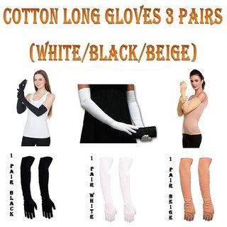 Cotton Long Full Gloves for Bike Scooty Ridding Arm Anti Tan Pollution , Protection form Summer Heat For Girls ( 3 Pairs Black/White/Beige)