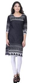 Meia Women's Black & White 3/4 Sleev Cotton Kurti