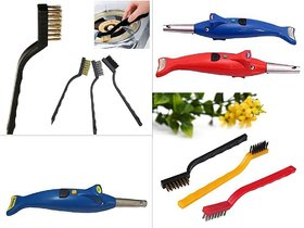 Combo offer 1 x 3 Pc Mini Wire Brush Set,Cleaning Tool Kit - Brass, Nylon, Stainless Steel Bristles , +  1 x Dolphin 2