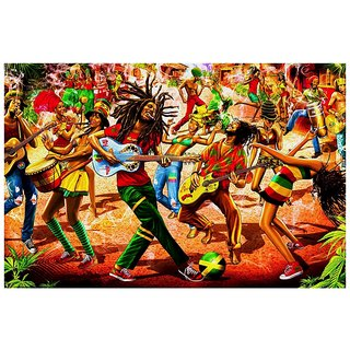Posterskart Bob Marley Psychedelic Art Poster | Hippie Culture | Smoking Weed | Peace | Music | Guitar Music Dancing Poster (12 x 18 inch)