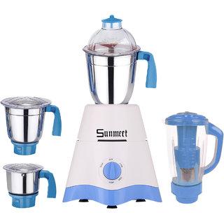 Sunmeet White-Blue Color 750Watts White-Blue Color Mixer Juicer Grinder with 4 Jar (1 Juicer Jar with filter, 1 Large Jar,  1 Medium Jar and 1 Chuntey Jar)