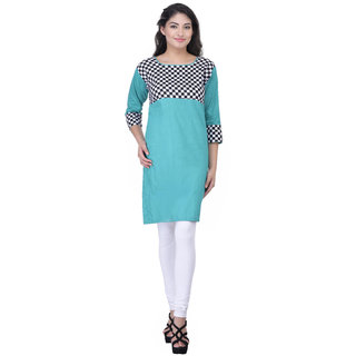 Meia Green Printed Cotton Stitched Kurti