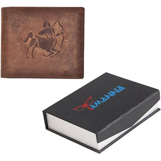 Tamanna Men Brown Genuine Hunter Leather Wallet  (5 Card Slots) small Coin Pocket with Sagittarius Zodiac sign