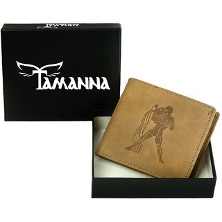 Tamanna Men Tan Genuine Hunter Leather Wallet (5 Card Slots) small coin pocket with Aquarius Zodiac sign