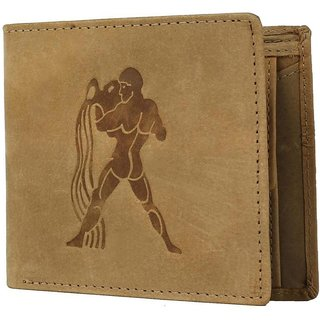 Tamanna Men Tan Genuine Hunter Leather Wallet (8 Card Slots) Big coin pocket with Aquarius Zodiac sign