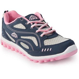 ASIAN WOMEN NAVY PINK COMFORTABLE SPORTS / RUNNING SHOES ( M)