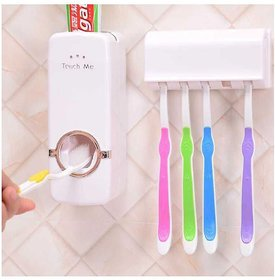 2 in 1 AUTOMATIC TOOTHPASTE DISPENSER (White) -- FREE TOOTH BRUSH HOLDER SET (holds 5 tooth brushes)