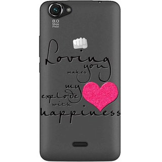 Snooky Printed Happiness Mobile Back Cover of Micromax Bolt Q338 - Multicolour