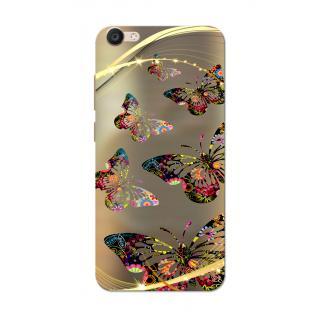 Vivo V5 Case, Butterflies Golden Brown Slim Fit Hard Case Cover/Back Cover for Vivo V5/V5S
