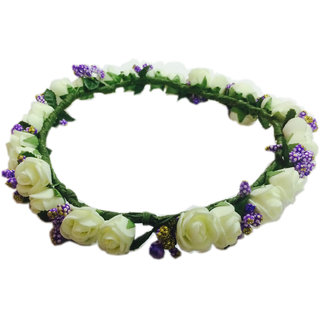Purple White Floral/Tiara/ Crown/Hairband For Girls Women-Hair Accessories For Birthday Party Wedding