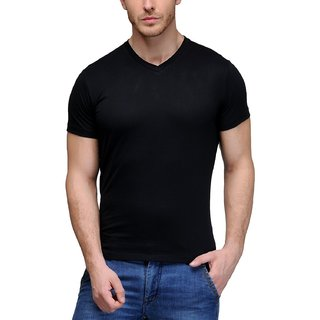 Trend Vibes Solid Men's V-neck Black T-Shirt