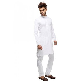 LDHSATI Cotton Blend White Kurta for Men