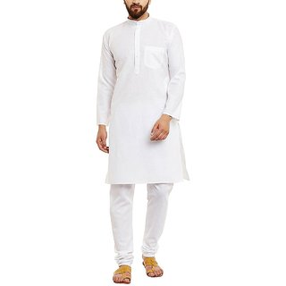LDHSATI Cotton Blend White Kurta for men ( men's) man