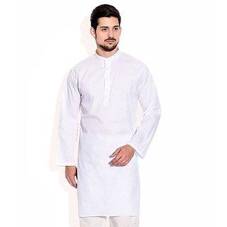 LDHSATI Cotton Blend White Kurta for men ( men's) man