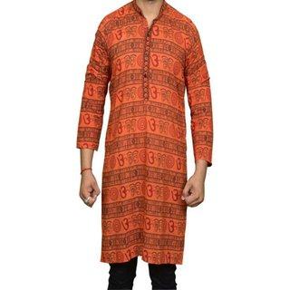 LDHSATI Cotton Blend Orange Om printed Kurta for men ( men's) man
