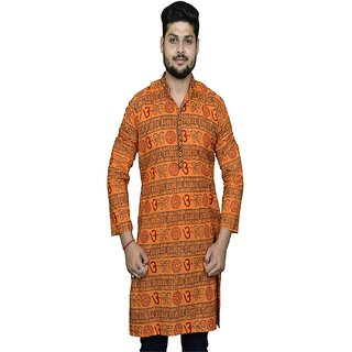 LDHSATI Cotton Blend Orange Om printed Kurta for men ( men's) man