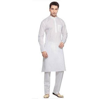 LDHSATI Cotton Blend White Kurta and Churidar set for men ( men's) man