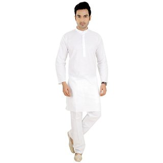LDHSATI Cotton Blend White Kurta and pyjama set for men ( men's) man
