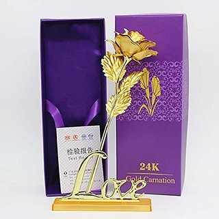24K Golden Rose 10 Inches With Purple Gift Box - Best Gift with Stand