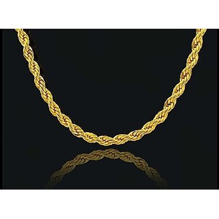 Rope Design Fancy Handmade Latest Men's Chain 24k Gold Plated By Indian Goldsmith With 6 Months Warranty 22 inch Size
