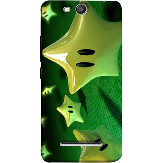 FUSON Designer Back Case Cover for Micromax Canvas Juice 3 Q392 (Shy Many Gold Star Cartoon Emoji Emotions In Air )