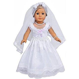 Ebuddy ® 4pc Hot White Wedding Dress Clothes Fits 18 Inch Doll