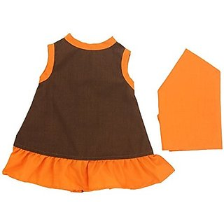 "Miniland Brown Dress with Orange Trim and Kerchief for 15 3/4"" Dolls"