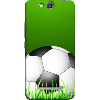 FUSON Designer Back Case Cover for Micromax Canvas Juice 3 Q392 (Football Green Ground Ball Black White Fifa League )