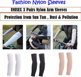 Nylon Boys UV Protected Arm Sleeves ( 3 Pairs Black/White/Beige)