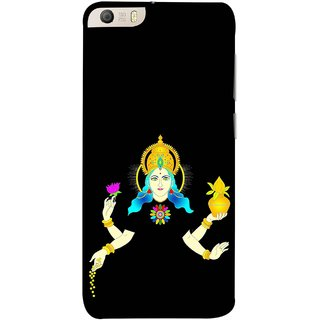 FUSON Designer Back Case Cover for Micromax Canvas Knight 2 E471 (Laxmi Kamal Lotus Gold Crown Mukut Kalash)