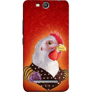 FUSON Designer Back Case Cover for Micromax Canvas Juice 3 Q392 (Young Chicken Portrait Funny Acting Isolated Illustration)