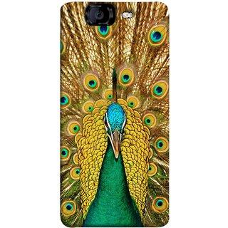FUSON Designer Back Case Cover for Micromax Canvas Knight A350 :: Micromax A350 Canvas Knight (Nice Colourful Long Peacock Feathers Beak)